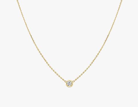 Round Diamond Bezel Necklace - 14K Yellow Gold | Necklace