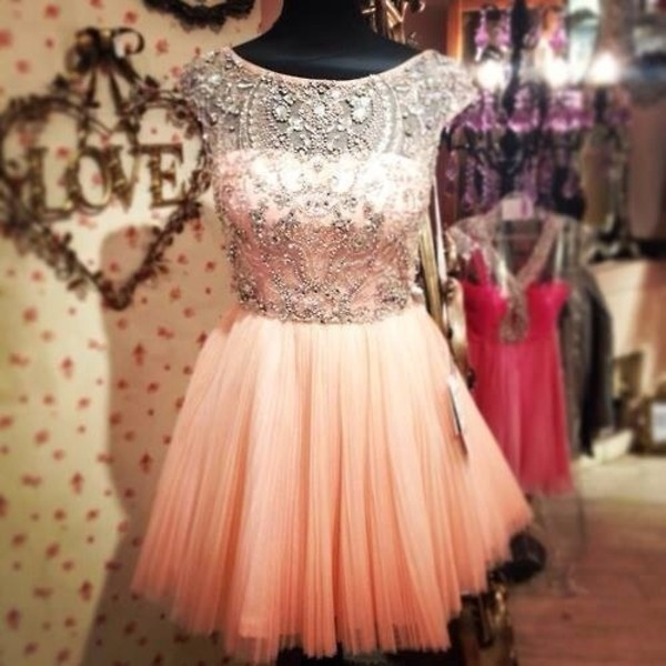dress prom pink diamonds tull wedding diamonds glamour pink dress lovely sparkle gems tulle skirt short prom dress beaded dress homecoming dress homecoming dress beads sparlkly