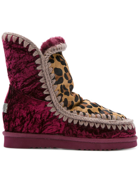 wedge boots women print wool velvet leopard print red shoes