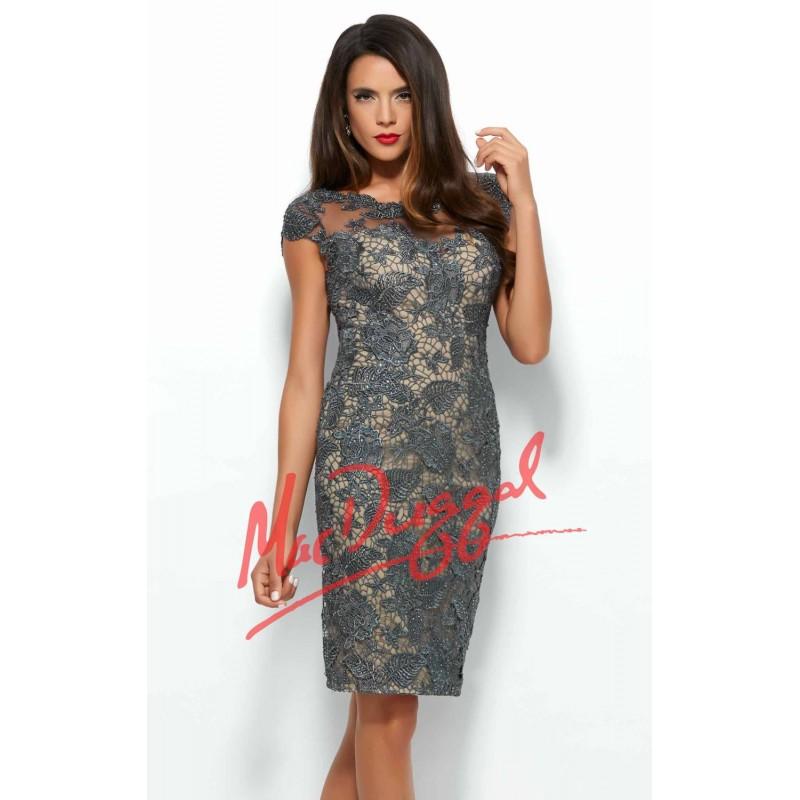 Floral Laced Applique Dress by Mac Duggal Black White Red 61413R - Bonny Evening Dresses Online