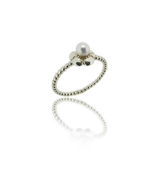 Flower White Pearl | Silver Ring | Silver Jewellery | Stack Rings | BOHEM