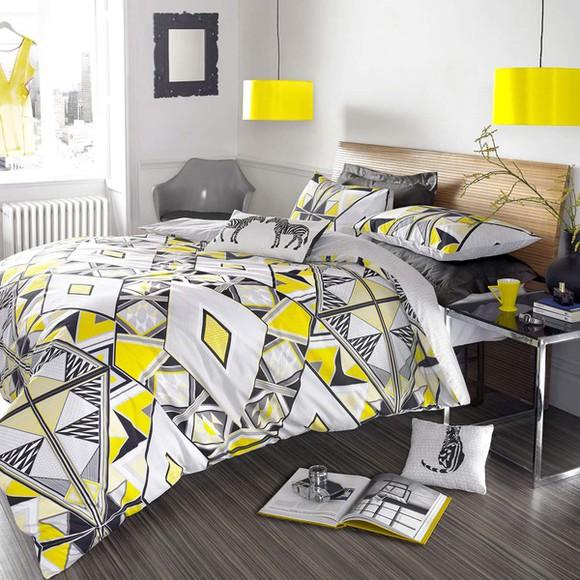 yellow bag aztec bedding