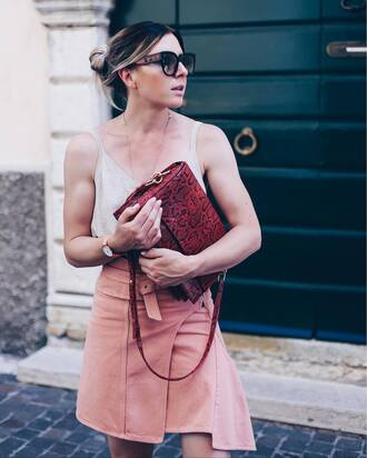 skirt tumblr mini skirt asymmetrical asymmetrical skirt bag red bag top camisole sunglasses