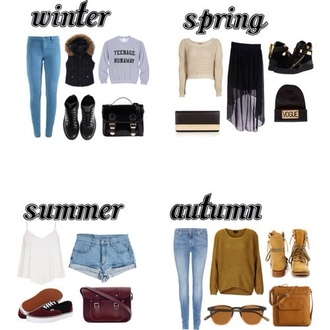 jacket jeans sweater shoes bag hat skirt tank top shorts sunglasses