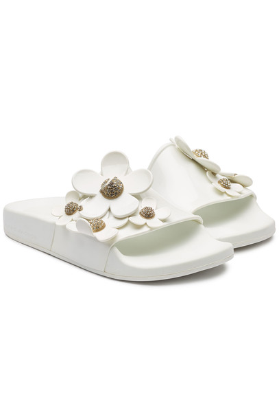 Marc Jacobs Rubber Slides with Flowers  in white