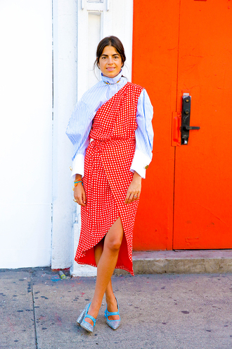 man repeller blogger swimwear dress bag shoes jewels asymmetrical asymmetrical dress one shoulder dress one shoulder stripes striped dress checkered dress checkered striped shirt blue shirt wrap dress pumps blue pumps sequin shoes thick heel block heels midi wrap dress