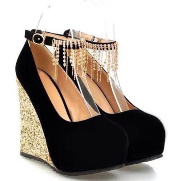 shoes black & gold wedges