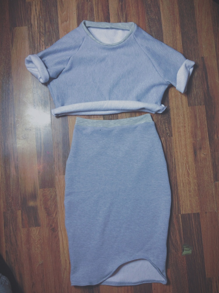 grey two piece  / fashjonn
