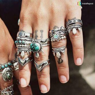 jewels shop dixi boho bohemian turquoise abalone ring