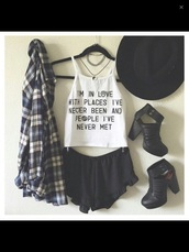 top,choker necklace,grunge,tumblr top,jewels,shoes,t-shirt,white t-shirt,john green,paper towns,shirt,blouse,shorts,black,heels,boots,flannel,blue,hat,tank top,cardigan,outfit,coat,white tank top