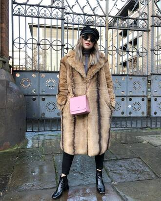 coat tumblr fur coat fur collar coat faux fur coat bag pink bag boots black boots ankle boots hat fisherman cap