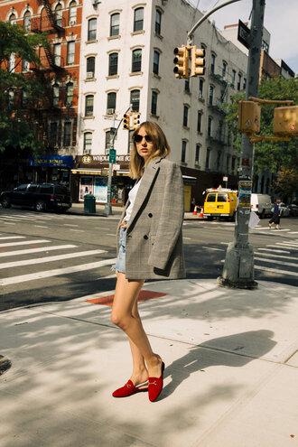 jacket check blazer blazer grey blazer plaid plaid blazer shoes loafers mules red shoes denim denim skirt sunglasses