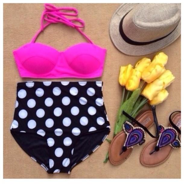 swimwear hot pink polka dots high waisted bikini fadora hat flat sandals