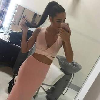 dress pink kayla itsines bandage dress crop