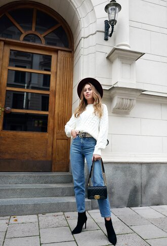 kenza blogger sweater belt hat shoes jeans white sweater chanel bag ankle boots boots fall outfits