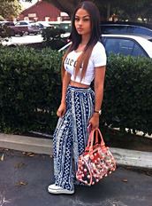 bag,india westbrooks,crop tops,converse,pants,blue,india,westbrooks,white,clothes,instagram,pattern,straight pants