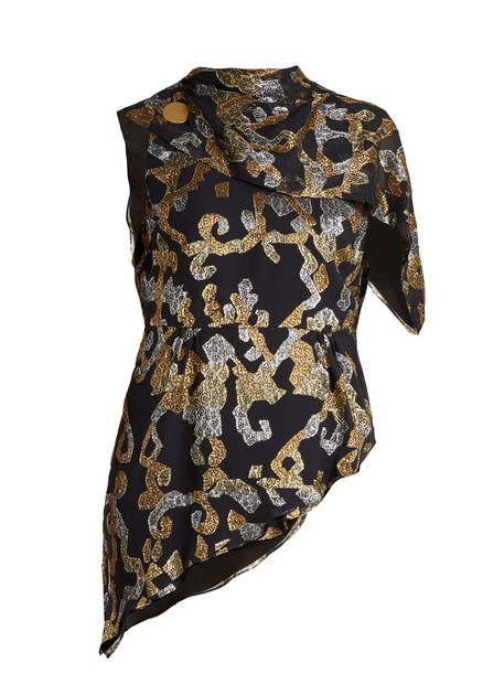 Peter Pilotto top back open silk gold black