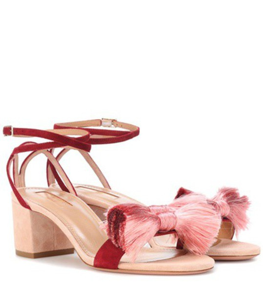 Aquazzura Lotus Blossom 50 suede sandals in pink