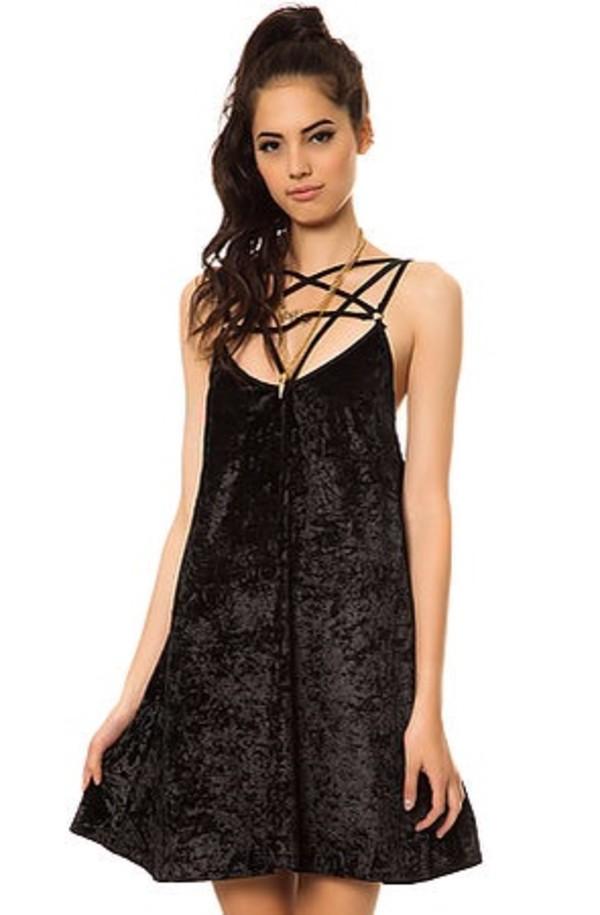 dress reverse velvet dress pentagram short dress little black dress karmaloop dolls kill bewitched goth