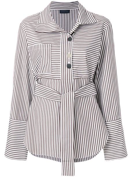 EUDON CHOI shirt striped shirt women cotton brown top