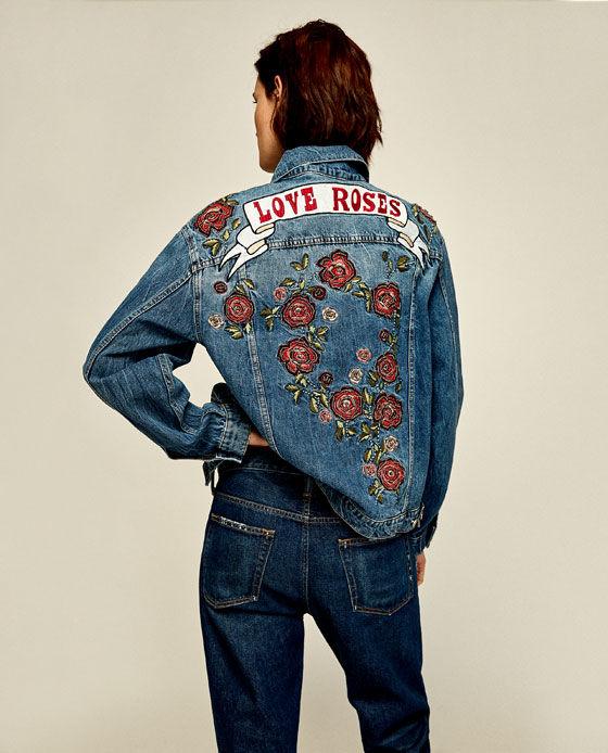 DENIM JACKET WITH EMBROIDERED ROSES