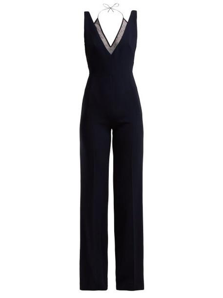Roland Mouret - Hartnell V Neck Crepe Jumpsuit - Womens - Navy