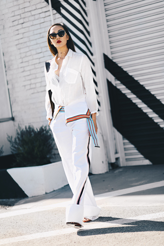 pants sunglasses tumblr white pants wide-leg pants side stripe pants shirt white shirt bag white bag