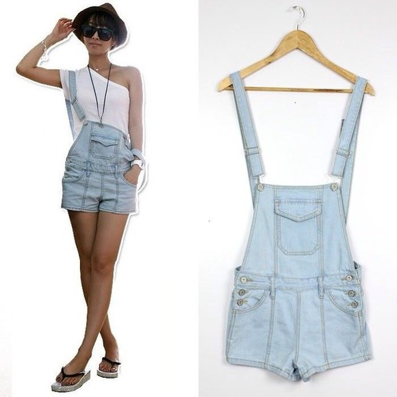 overalls fashion denim overalls shorts denim shortalls trendy swag style classy girly