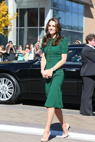 dress green green dress midi dress kate middleton pumps