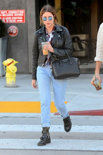 shirt jeans boyfriend jeans ashley benson fall outfits streetstyle biker jacket plaid shirt
