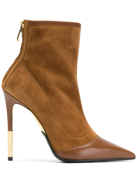 Balmain women ankle boots leather suede brown shoes