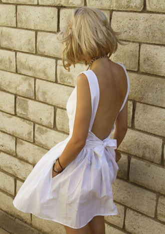 clothes dress white dress white bows backless dress bow back dress