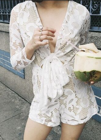 romper lace tie front sheer white white romper cream playsuit cream romper long sleeves long sleeved playsuit cream lace romper lace playsuit long sleeve romper