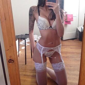 underwear camilakilla lingerie white garter belt stockings panties bra sexy cute pretty