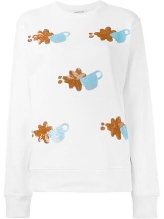 sweatshirt embellished white sweater