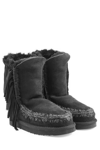 short sheepskin boots black shoes
