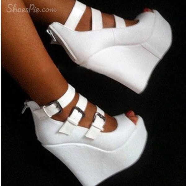 shoes white wedges high heels tanned inlove lookalike
