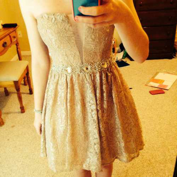 nude dress strapless dresses lace dress short dress beaded dress