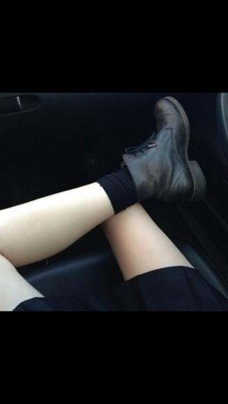 black boots black shoes