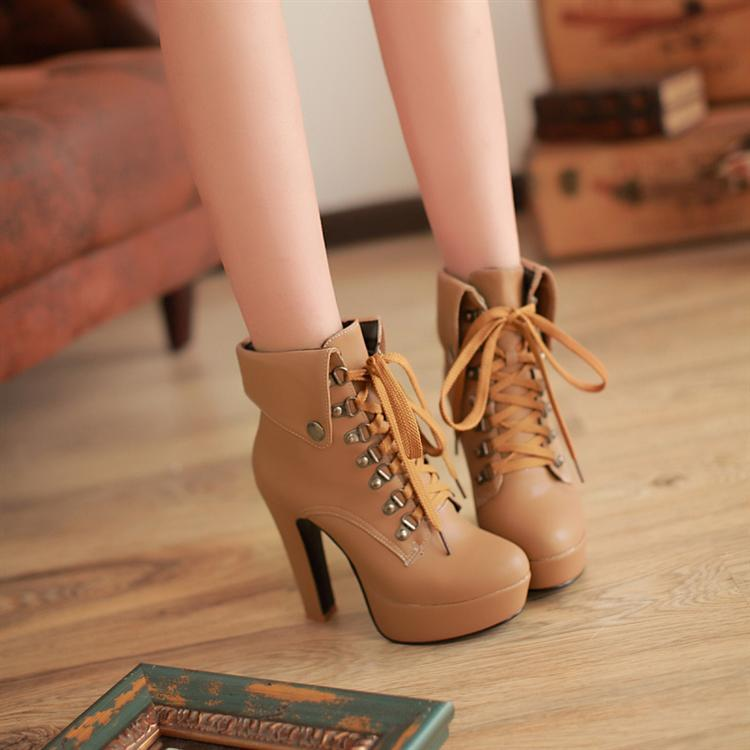 Plus Size Platform High Heels Boots Lace Up Chunky Heel Ankle ...