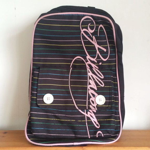 bag billabong striped bag pack stripe stripes button backpack vintage
