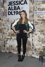 jacket,jeans,jessica alba,ankle boots,bomber jacket,satin bomber,top