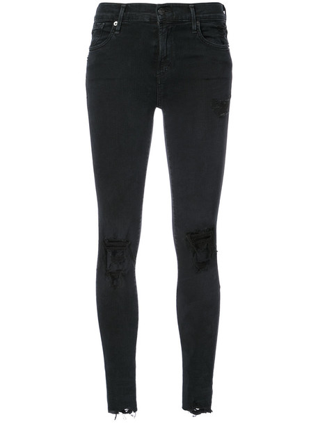 AGOLDE jeans ripped jeans women spandex ripped cotton black