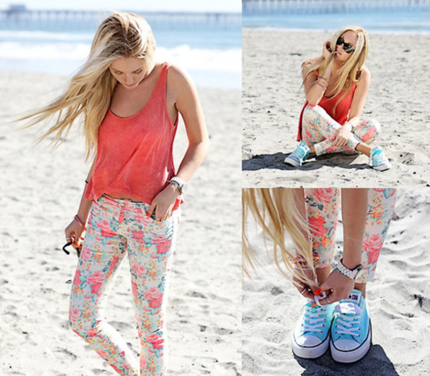 jeans floral flowers light print
