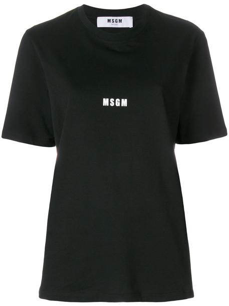 MSGM t-shirt shirt printed t-shirt t-shirt women cotton black top