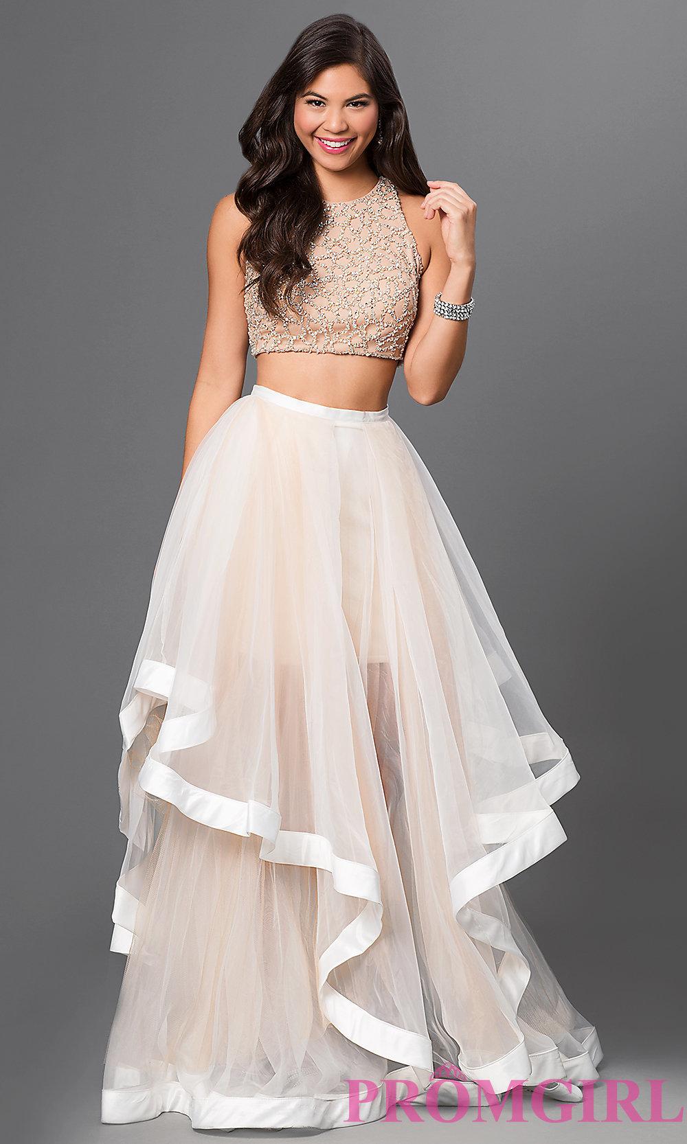 Glamour by Terani Two Piece Dress with Jeweled Bodice