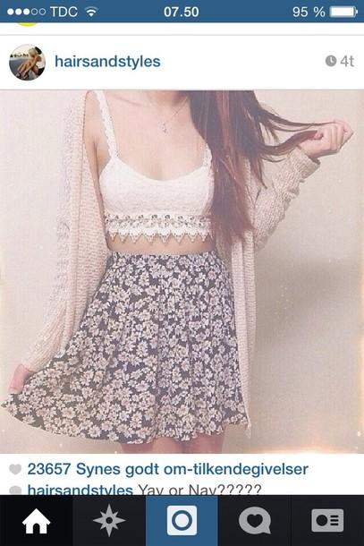 skirt shirt cardigan