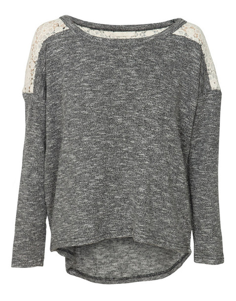Sweater: sweatshirt, grey sweater, clothes, clothes, shirt, lace ...