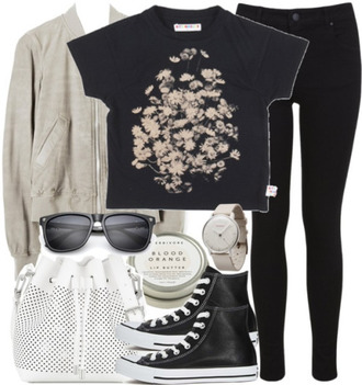 bag malia inspired malia tate black t shrt high top converse sunglasses clock leather jacket grey jacket shoes jeans