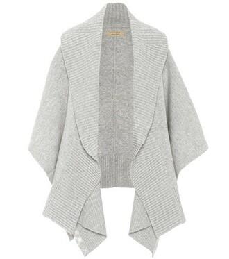 poncho wool grey top